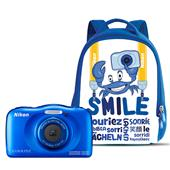 Nikon Coolpix W100 Digital Camera in Blue with Backpack