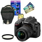 Nikon D3400 Digital SLR in Black with 18-55mm f/3.5-5.6 AF-P Non VR Lens and Accessories Bundle