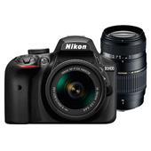 Nikon D3400 Digital SLR in Black with 18-55mm f/3.5-5.6 AF-P Non VR Lens and Tamron AF 70-300mm f/4-5.6 Di LD Lens