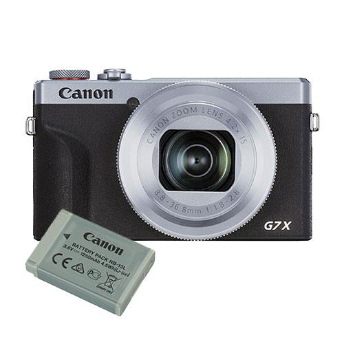 PowerShot G7 X Mark III Digital Camera in Silver with Extra Battery Product Image (Primary)