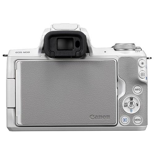 EOS M50 Mirrorless Camera Body in White Product Image (Secondary Image 3)