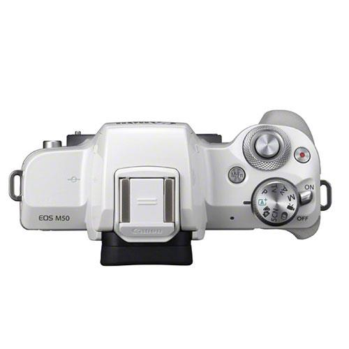 EOS M50 Mirrorless Camera Body in White Product Image (Secondary Image 4)