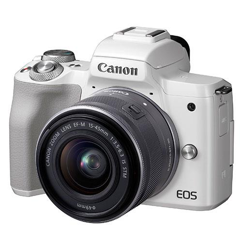 EOS M50 Mirrorless Camera in White with EF-M 15-45mm IS STM Lens Product Image (Primary)
