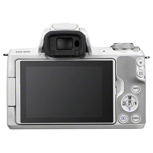 EOS M50 Mirrorless Camera in White with EF-M 15-45mm STM Lens Product Image (Secondary Image 1)
