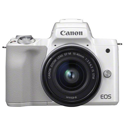 EOS M50 Mirrorless Camera in White with EF-M 15-45mm STM Lens Product Image (Secondary Image 2)