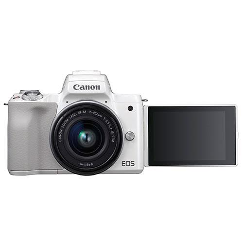 EOS M50 Mirrorless Camera in White with EF-M 15-45mm IS STM Lens Product Image (Secondary Image 3)