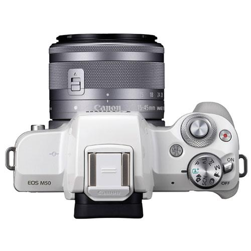 EOS M50 Mirrorless Camera in White with EF-M 15-45mm STM Lens Product Image (Secondary Image 4)