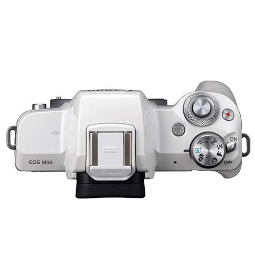 EOS M50 Mirrorless Camera in White with EF-M 15-45mm IS STM Lens Product Image (Secondary Image 5)