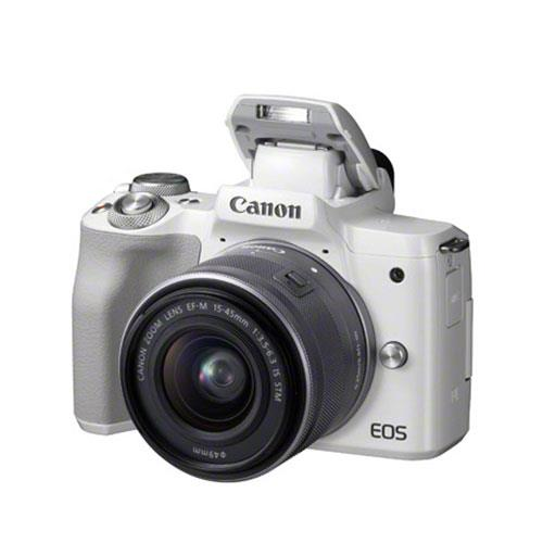 EOS M50 Mirrorless Camera in White with EF-M 15-45mm STM Lens Product Image (Secondary Image 6)