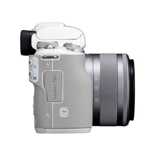 EOS M50 Mirrorless Camera in White with EF-M 15-45mm STM Lens Product Image (Secondary Image 8)