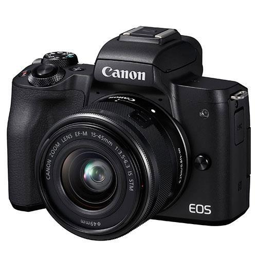 EOS M50 Mirrorless Camera in Black with EF-M 15-45mm IS STM and EF-M 22mm f/2 STM Lenses Product Image (Secondary Image 1)