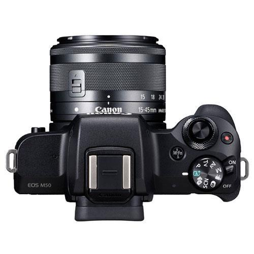 EOS M50 Mirrorless Camera in Black with EF-M 15-45mm IS STM and EF-M 22mm f/2 STM Lenses Product Image (Secondary Image 4)