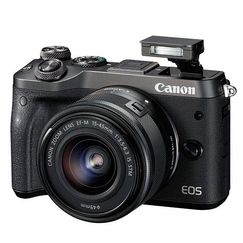 EOS M6 Mirrorless Camera in Black + 15-45mm Lens Product Image (Primary)