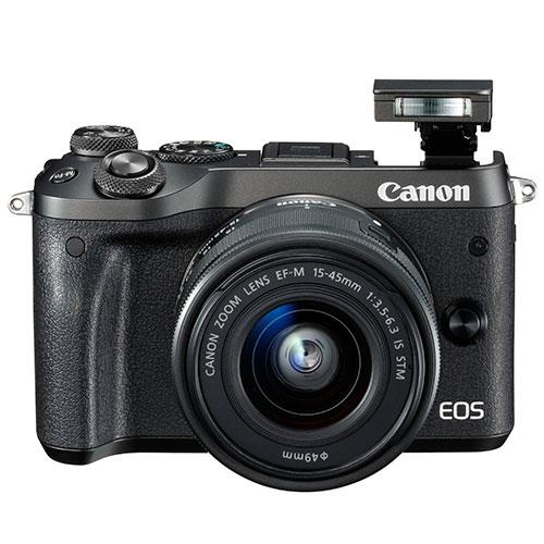 EOS M6 Mirrorless Camera in Black + 15-45mm Lens Product Image (Secondary Image 1)