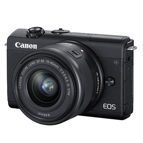 EOS M200 Mirrorless Camera in Black with EF-M 15-45mm Black Product Image (Secondary Image 1)