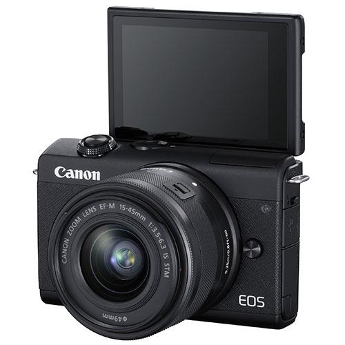EOS M200 Mirrorless Camera in Black with EF-M 15-45mm Black Product Image (Secondary Image 4)