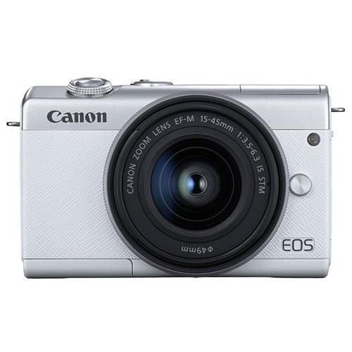 EOS M200 Mirrorless Camera in White with EF-M 15-45mm Lens Product Image (Primary)