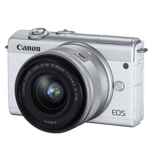 EOS M200 Mirrorless Camera in White with EF-M 15-45mm Lens Product Image (Secondary Image 1)