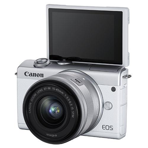 EOS M200 Mirrorless Camera in White with EF-M 15-45mm Lens Product Image (Secondary Image 4)
