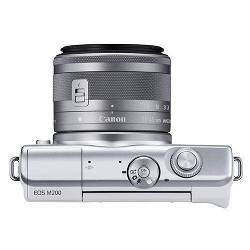 EOS M200 Mirrorless Camera in White with EF-M 15-45mm Lens Product Image (Secondary Image 5)
