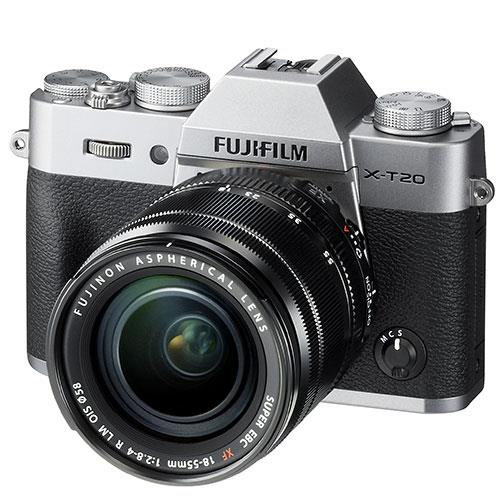 X-T20 Mirrorless Camera in Silver + 18-55mm Lens Product Image (Primary)