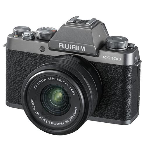 X-T100 Mirrorless Camera in Dark Silver + XC15-45mm lens Product Image (Primary)