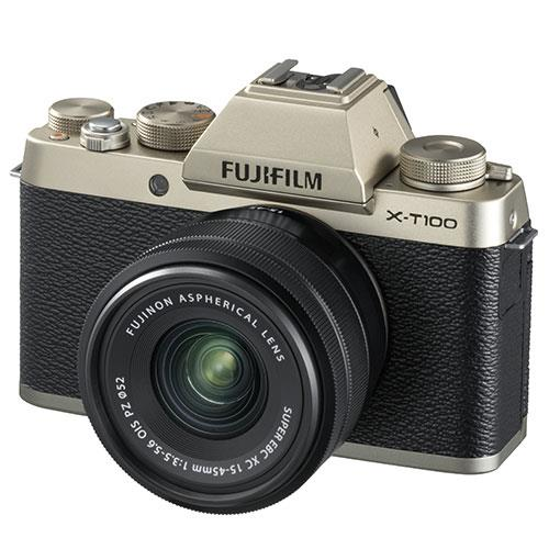 X-T100 Mirrorless Camera in Chanpagne Gold + XC15-45mm lens Product Image (Primary)
