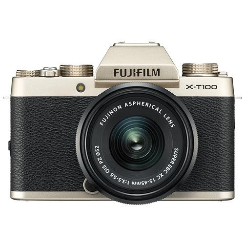X-T100 Mirrorless Camera in Chanpagne Gold + XC15-45mm lens Product Image (Secondary Image 1)