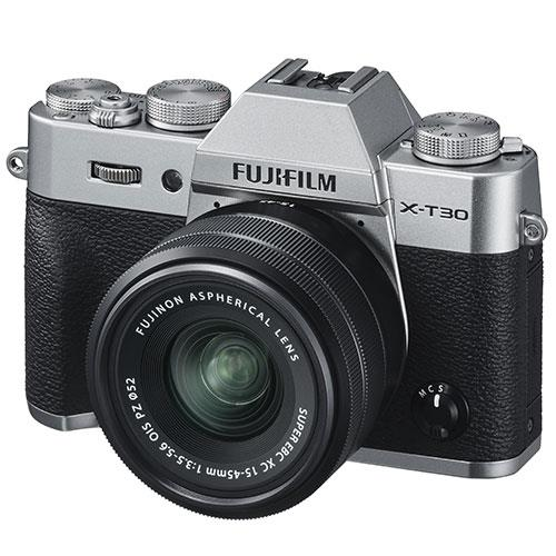 X-T30 Mirrorless Camera in Silver with XC15-45mm  Lens Product Image (Secondary Image 1)