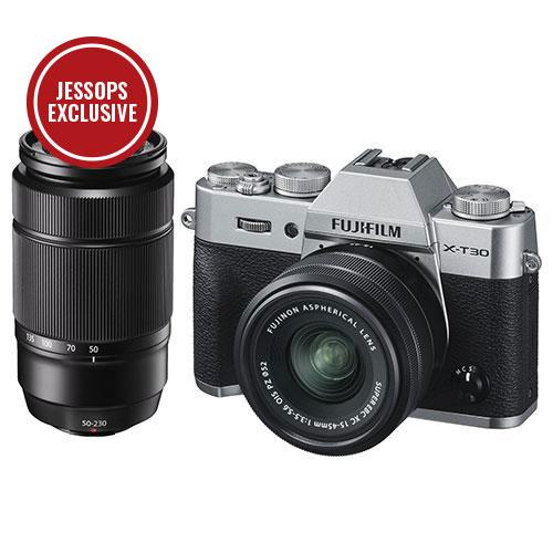 X-T30 Mirrorless Camera in Silver with XC15-45mm and 50-230mm Lenses Product Image (Primary)
