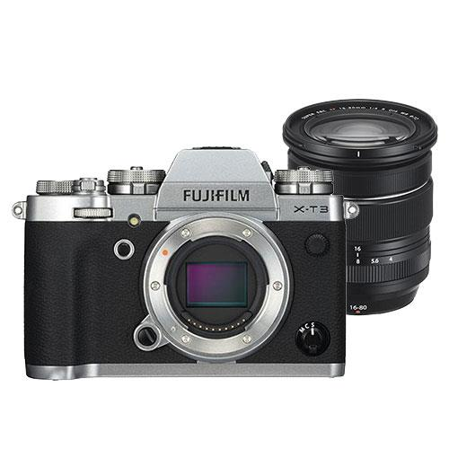 X-T3 Mirrorless Camera Body in Silver with XF16-80mm F4 R OIS WR Lens Product Image (Primary)