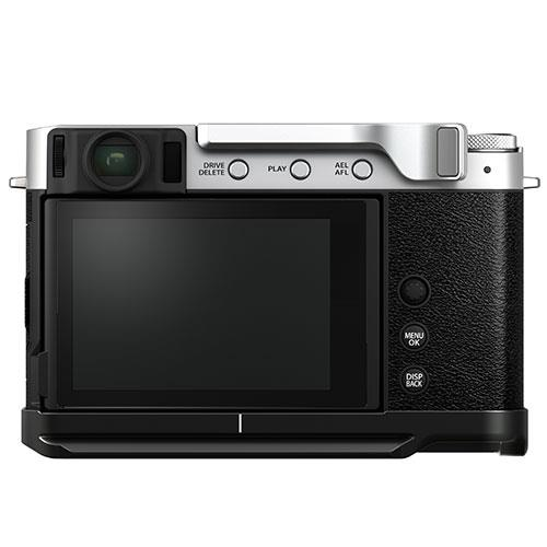 X-E4 Mirrorless Camera Body in Silver with Metal Hand Grip and Thumb Rest Product Image (Secondary Image 1)