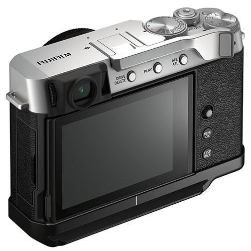 X-E4 Mirrorless Camera Body in Silver with Metal Hand Grip and Thumb Rest Product Image (Secondary Image 2)