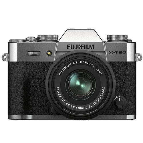 X-T30 II Mirrorless Camera in Siver with XC15-45mm Lens Product Image (Primary)