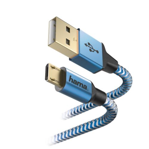 HAMA Refle Micro USB 1.5m Blue Product Image (Secondary Image 1)