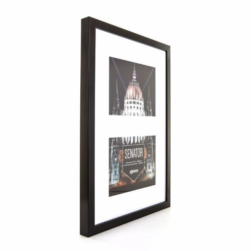 """Sentor Black Frame 12x18"""" with mat for 2 Photos 8x6""""/15x20xm Product Image (Secondary Image 1)"""