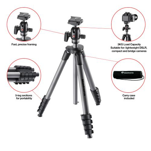 Compact Advanced Aluminium Tripod with Ball Head Product Image (Secondary Image 1)