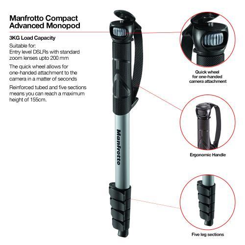 Compact Advanced Monopod Black Product Image (Secondary Image 1)
