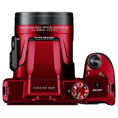Coolpix B600 Digital Camera in Red Product Image (Secondary Image 4)