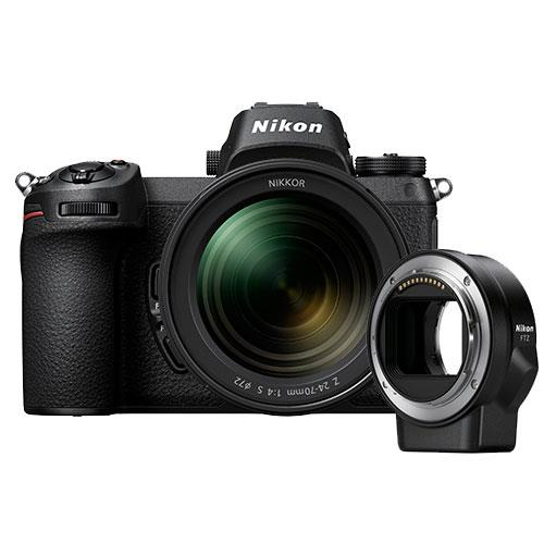 Z 7 Mirrorless Camera with Nikkor 24-70mm f/4 S Lens and FTZ Mount Adapter Product Image (Primary)