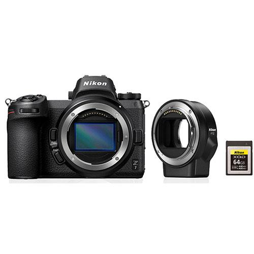Z 7 Mirrorless Camera Body with FTZ Mount Adapter and Nikon 64GB XQD Card Product Image (Primary)
