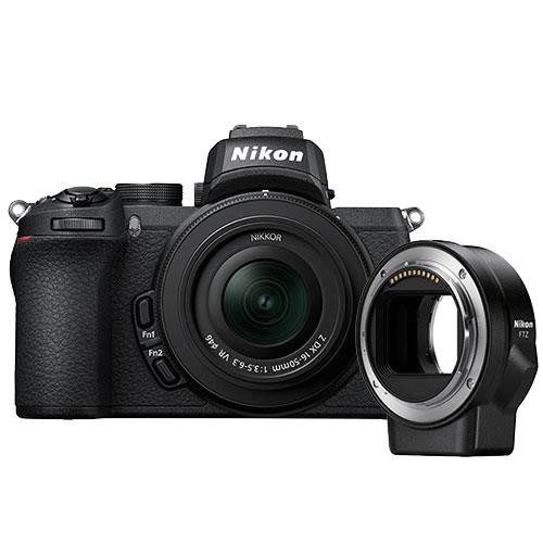 Z 50 Mirrorless Camera with DX 16-50mm VR Lens and FTZ Mount Product Image (Primary)