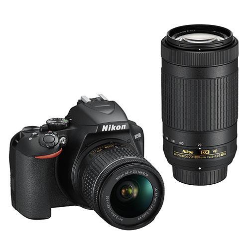 D3500 Digital SLR Camera with AF-P VR 18-55mm and 70-300mm Lenses Product Image (Primary)