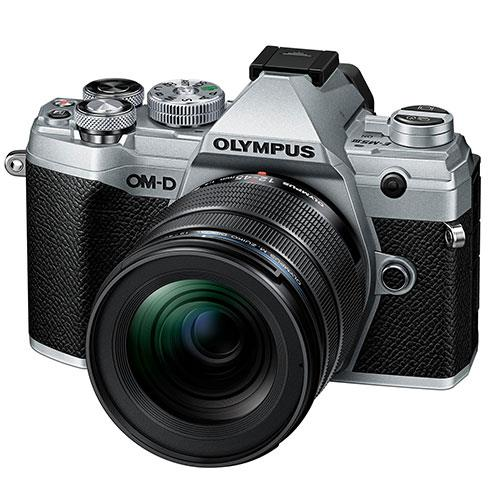 OM-D E-M5 Mark III Mirrorless Camera in Silver with 12-45mm F4 Pro Lens Product Image (Primary)