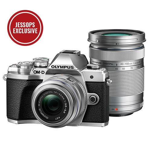 OM-D E-M10 Mark III Mirrorless Camera in Silver with 14-42mm and 40-150mm R Lenses Product Image (Primary)