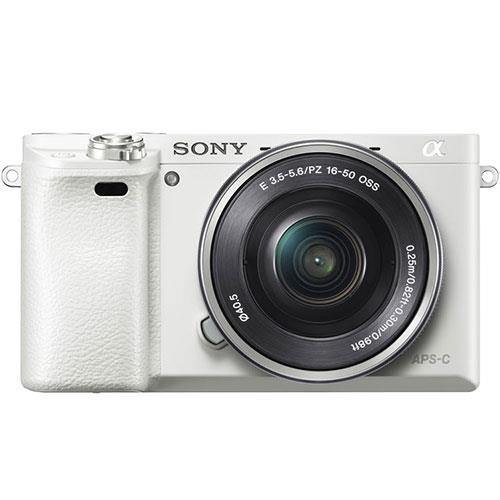 A6000 Mirrorless Camera in White with 16-50mm Power Zoom Lens Product Image (Primary)