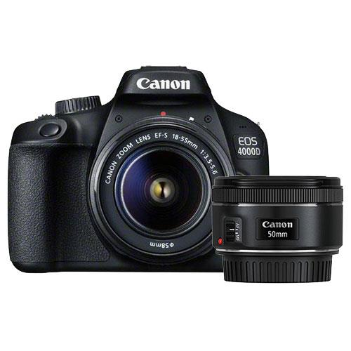EOS 4000D Digital SLR with EF-S 18-55mm III DC Lens and EF 50mm f/1.8 STM Lens Product Image (Primary)