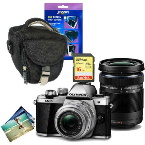 OM-D E-M10 Mark II Compact System Camera in Silver + 14-42mm + 40-150mm + Accessories Bundle Product Image (Primary)