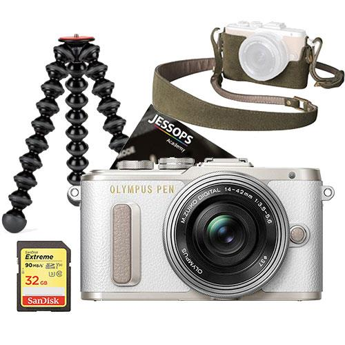 PEN E-PL8 Mirrorless Camera in White with 14-42mm EZ Lens Blogger Kit Product Image (Primary)