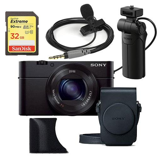 Cyber-shot DSC-RX100 III Kit + Sony VCT-SGR1 Grip, Rode SmartLav Plus Lavalier Microphone, Sandisk 32GB Card Product Image (Primary)